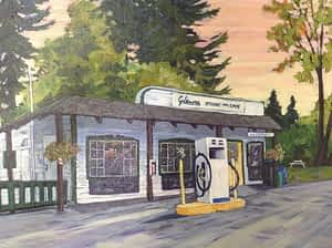 A painting of the Glenora Store and Cafe.