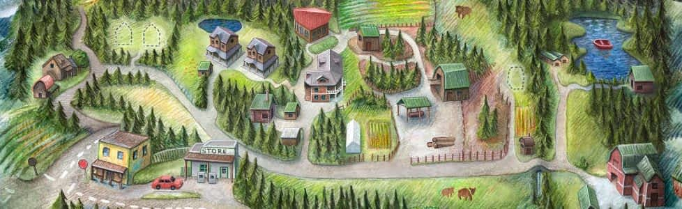 A hand drawn map of Glenora Farm, with buildings and trees.